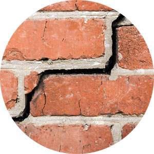 Cracks in brick veneers and mortar